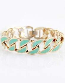Green Gold Hollow Chain Bracelet