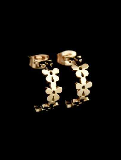 Gold Flowers Stud Earrings
