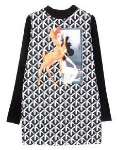 Black White Geometric Deer Print Long Sweatshirt