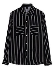 Black Lapel Long Sleeve Vertical Stripe Blouse