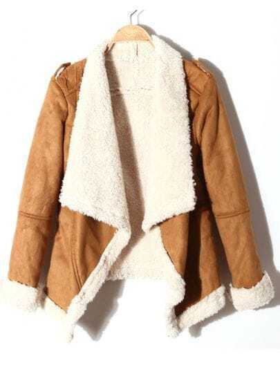 Khaki Lapel Long Sleeve Epaulet Faux Fur Coat