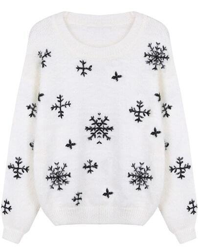 White Long Sleeve Snowflake Pattern Mohair Sweater
