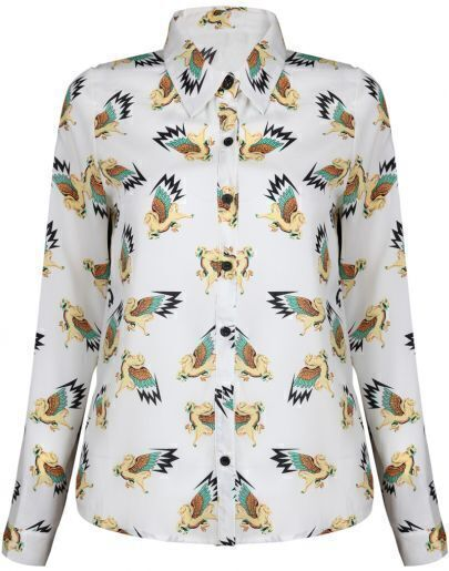 White Long Sleeve Wing Horses Print Blouse