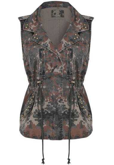 Army Green Camouflage Sleeveless Rivet Denim Vest