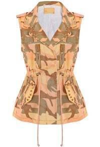 Orange Camouflage Sleeveless Rivet Denim Vest