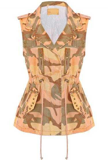 Orange Camouflage Sleeveless Rivet Denim Vest