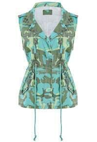 Green Camouflage Sleeveless Rivet Denim Vest