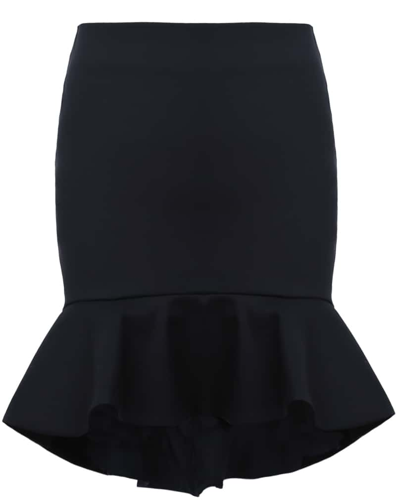 Black Ruffle High Low Bodycon Skirt -SheIn(Sheinside)