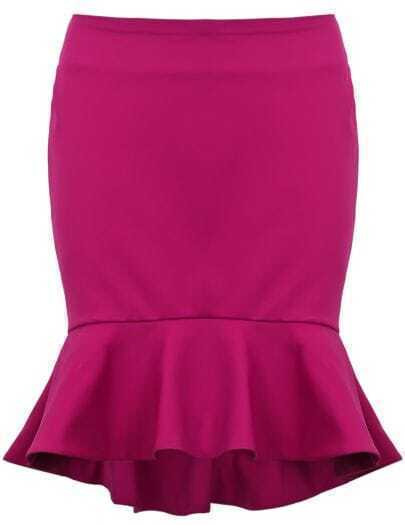 Rose Red Ruffle High Low Bodycon Skirt