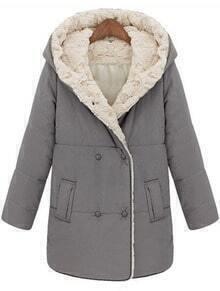 Grey Hooded Long Sleeve Pockets Parka