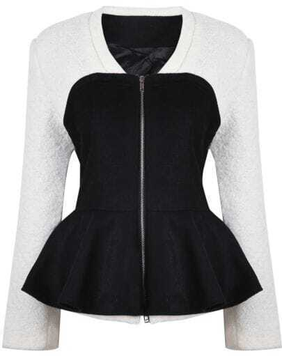 White Contrast Black Long Sleeve Ruffle Coat