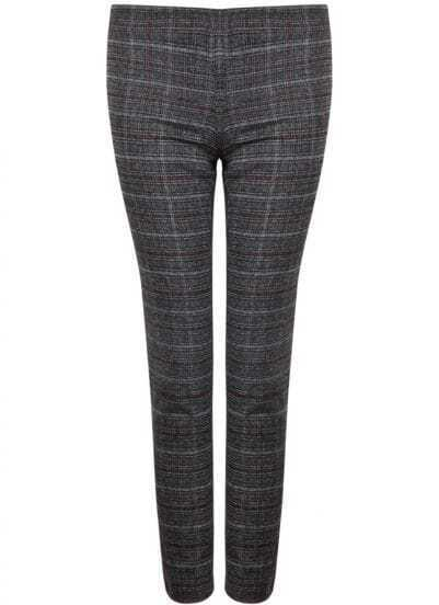 Grey Plaid Slim Crop Pant