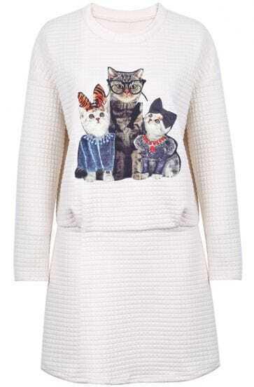 Beige Long Sleeve Striped Cat Print Dress