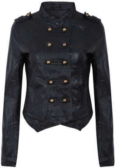 Black Long Sleeve Epaulet Buttons PU Leather Jacket