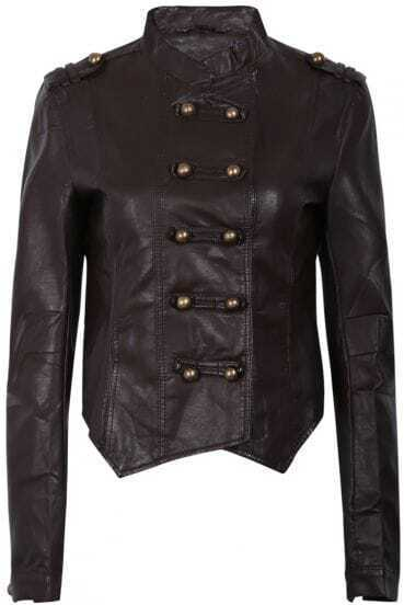 Brown Long Sleeve Epaulet Buttons PU Leather Jacket