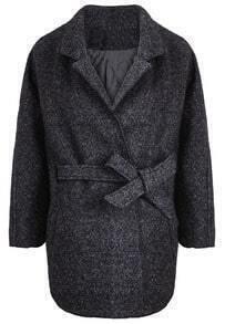 Grey Lapel Batwing Long Sleeve Belt Loose Coat