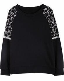 Black Pearls and Rhinestone Embellishment Shoulder Sweatshirt