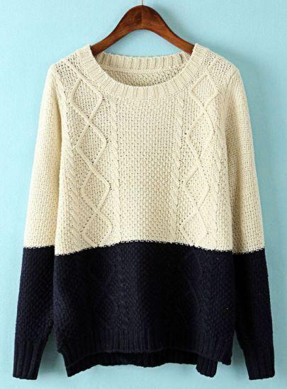 Beige Contrast Navy Long Sleeve Dipped Hem Sweater