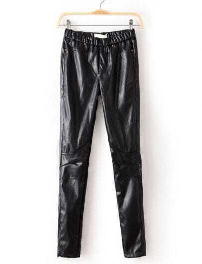 Black Elastic Waist Zipper PU Leather Pant