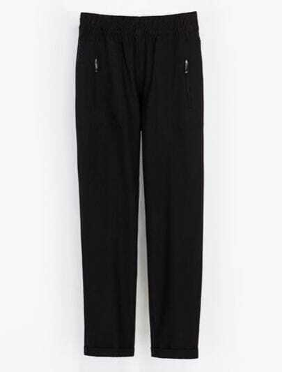 Black Elastic Waist Zipper Pockets Loose Pant
