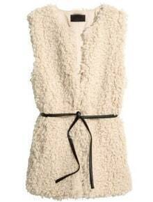 Beige Sleeveless Belt Faux Fur Vest