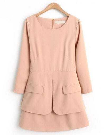 Pink Long Sleeve Back Zipper Pockets Dress