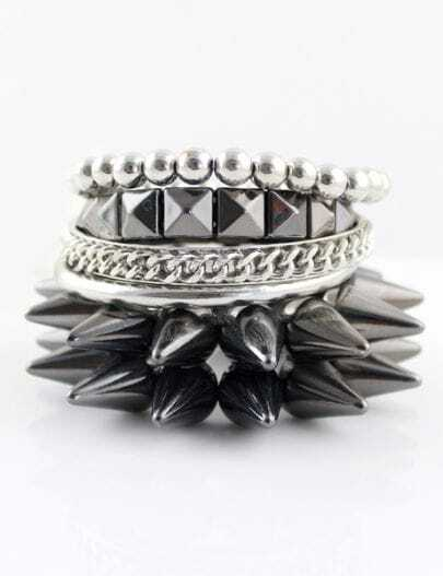 Retro Silver Bead Rivet Multilayer Bracelet