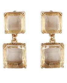 White Gemstone Gold Square Earrings