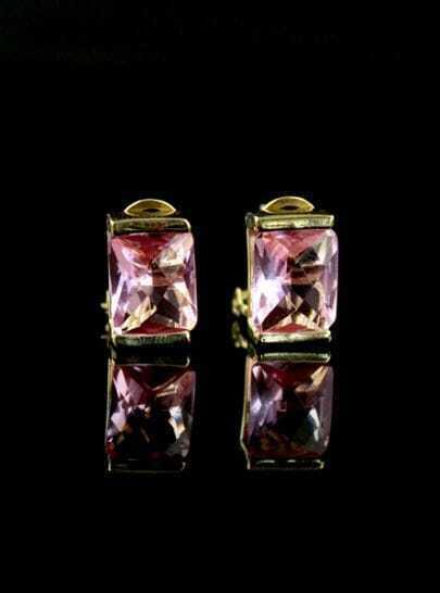 Red Gemstone Gold Stud Earrings