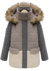 Khaki Contrast Grey Panel Detachable Fur Hood Coat