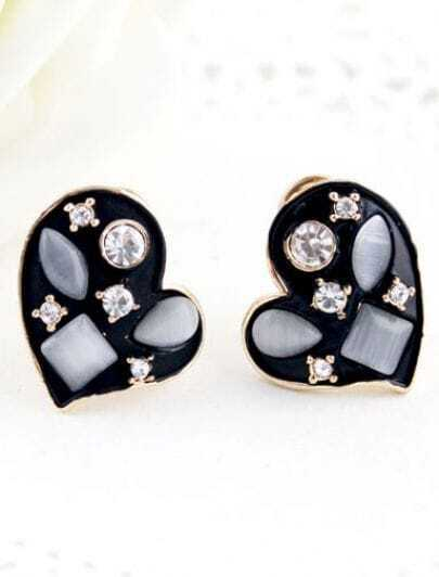 White Gemstone Black Gold Heart Stud Earrings