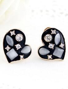 White Gemstone Black Gold Heart Stud Earrings