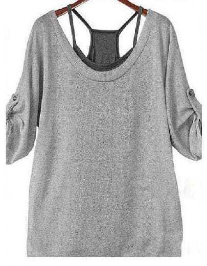 Grey three quarter length sleeve lace up t shirt shein for Three quarter length shirt