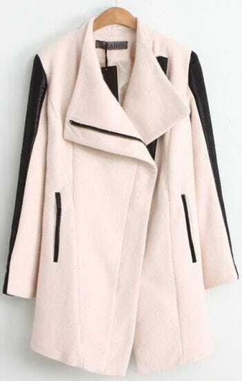 Beige Contrast Leather Quilted Sleeve Zip Coat