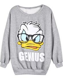 Grey Long Sleeve Donald Duck Print Sweatshirt