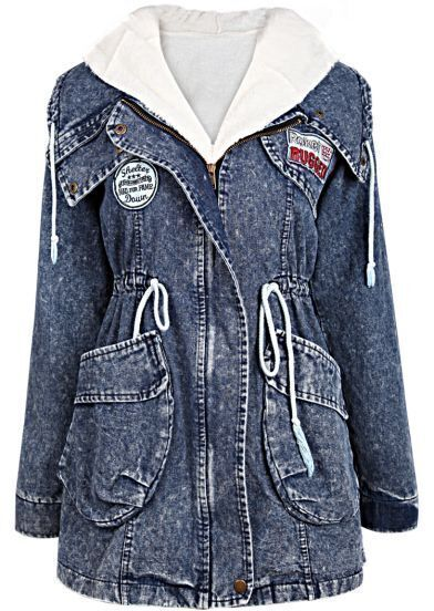 Navy Hooded Long Sleeve Drawstring Denim Two Pieces Coat