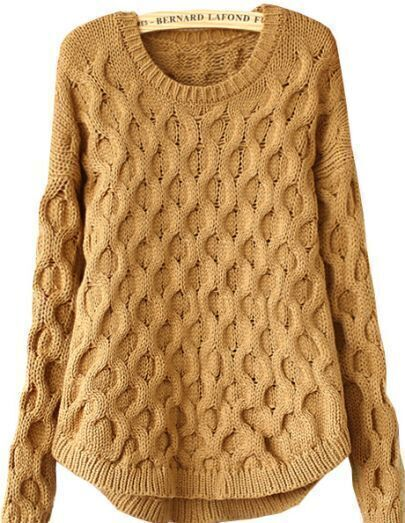 Khaki Long Sleeve Cable Knit Loose Sweater