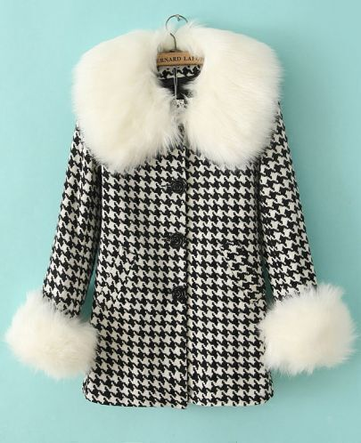 Black White Houndstooth Contrast Faux Fur Coat