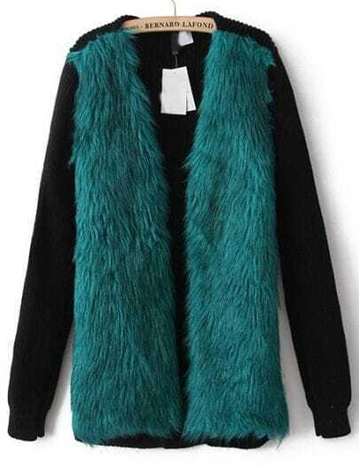 Green Contrast Knit Long Sleeve Faux Fur Coat