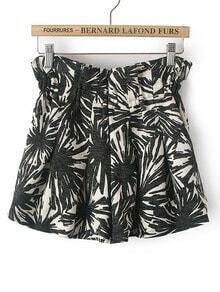Black White Geometric Print Shorts