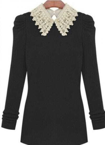 Black Contrast Bead Collar Long Sleeve Knit Sweater