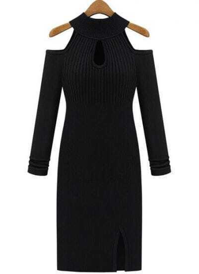 Black Halter Off the Shoulder Split Knit Dress