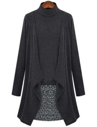 Dark Grey Long Sleeve Contrast Tweed Bodycon Dress