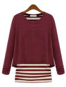 Wine Red Long Sleeve Contrast Striped Loose T-Shirt