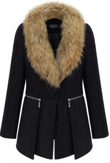 Black Long Sleeve Removable Fur Collar Zip Wool Coat -SheIn(Sheinside)