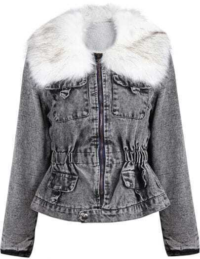 Grey Faux Fur Collar Long Sleeve Denim Jacket