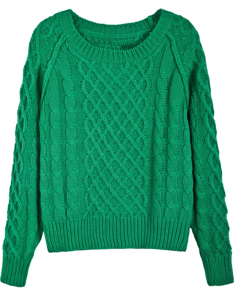 Green Long Sleeve Diamond Patterned Cable Knit Sweater -SheIn ...