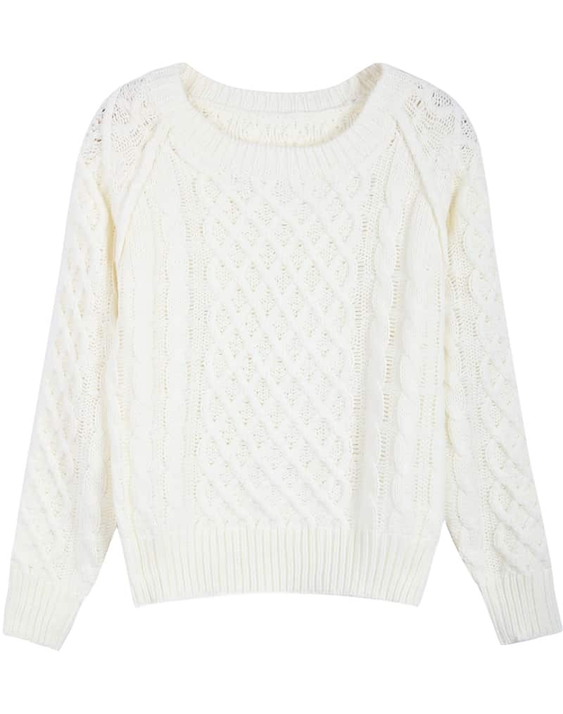 White Long Sleeve Diamond Patterned Cable Knit Sweater -SheIn ...