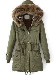 Army Green Faux Fur Hooded Drawstring Slim Coat