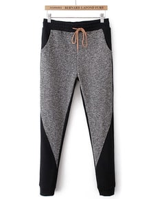 Grey Elastic Waist Drawstring Pockets Pant